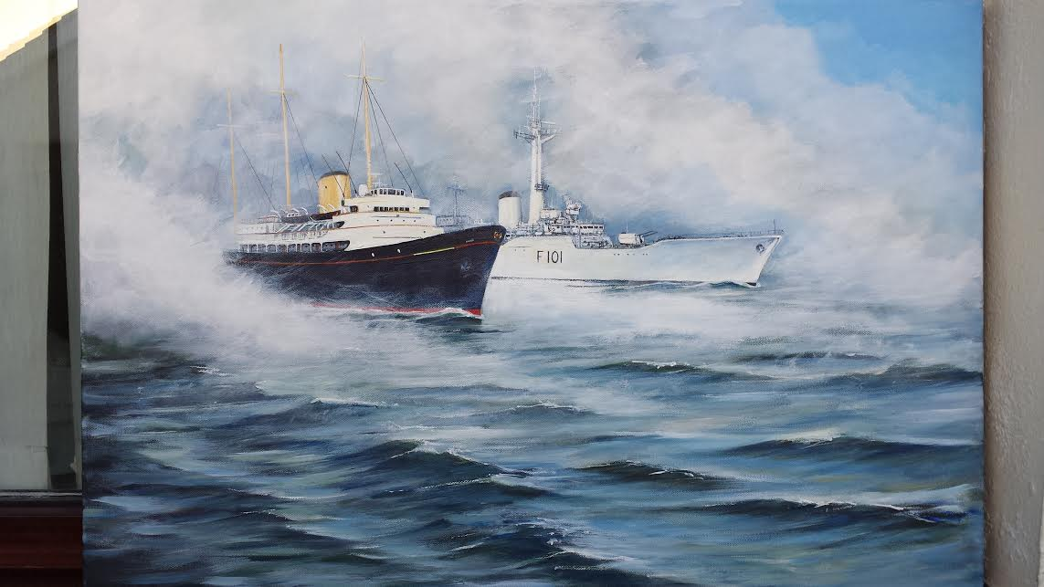 Royal Yacht Britannia and HMS Yarmouth Entering the Humber 1977-78