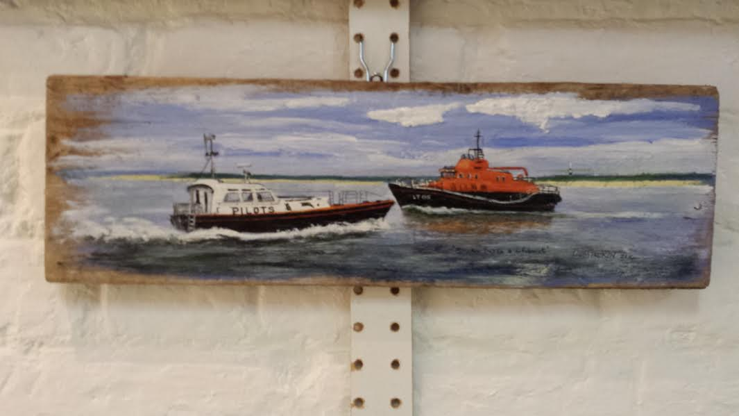 Spurn Pilot Boat and RNLI Pride of The Humber Acrylics on Driftwood